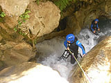 Abseiling into a gorge